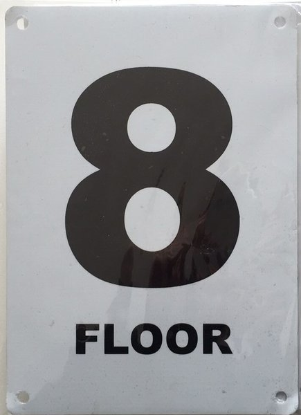 Nyc hpd sign floor number eight 8 sign aluminium 5x7 for Floor number sign