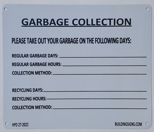 Hpd Sign Garbage Collection Your Official Store For Nyc