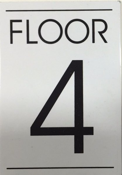 Hpd sign floor number four 4 sign aluminum sign ideal for Floor number sign