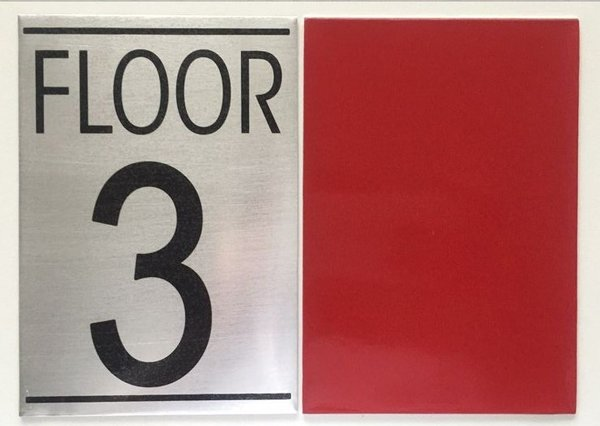 Nyc hpd floor number three 3 sign aluminum sign ideal for Floor number sign