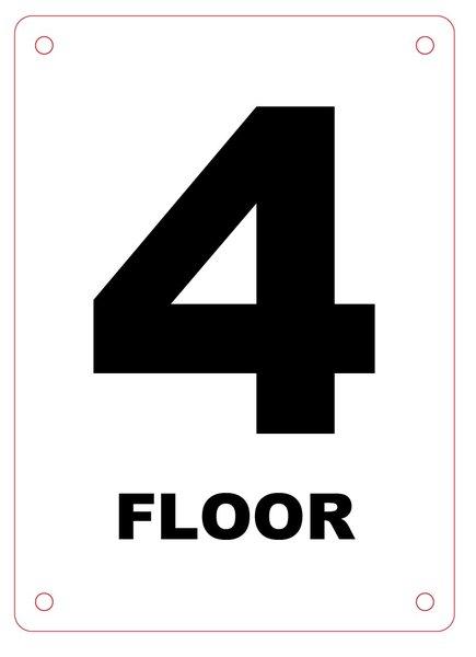 Hpd Sign Floor Number Four 4 Sign Aluminum Hmc 167 27