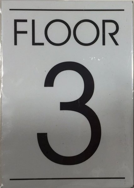 Hpd sign floor number three 3 sign an aluminum sign for Floor number sign