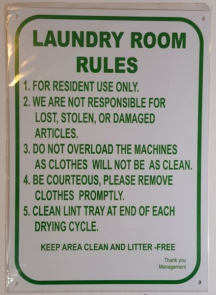 LAUNDRY ROOM RULES SIGN WHITE ALUMINUM 14X10