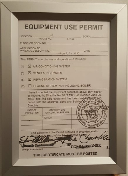 Equipment Use Permit Frame Your Official Store For Nyc