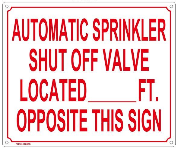 Sprinkler Sign Automatic Sprinkler Shut Off Valve Sign