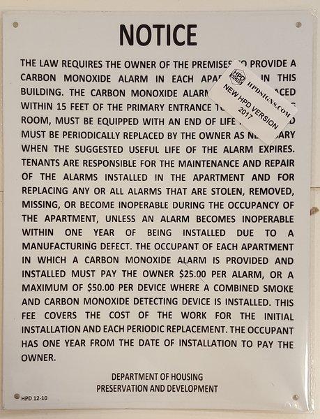 Hpd Carbon Monoxide Detector Notice Your Official Store
