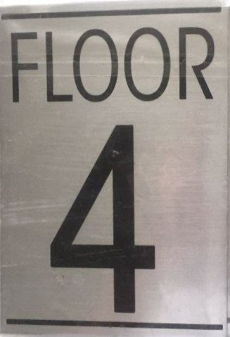 Nyc hpd floor number four 4 sign aluminum sign ideal for Floor number sign