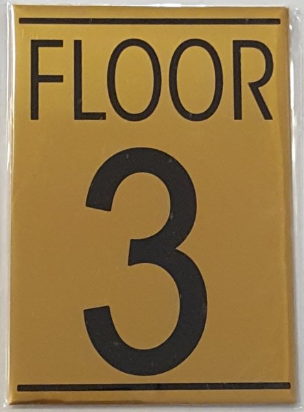 Hpd floor number three 3 sign aluminum sign ideal for for Floor number sign