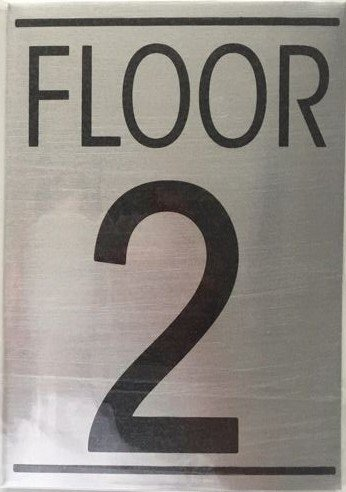 Nyc hpd floor number two 2 sign brushed aluminum for Floor number sign