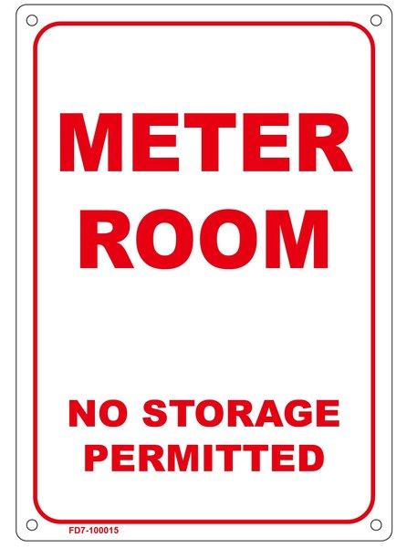 Sprinkler sign meter room no storage permitted sign sign for Storage room sign