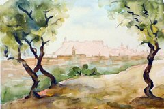 "#211 Aleppo Citadel Fortress, Syria - 12""x8"", Watercolour on paper"