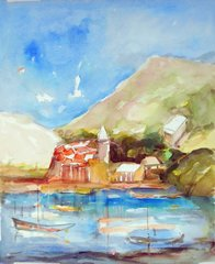 "#255 Côte Provençale, France - 18""x22"", Watercolour on paper"