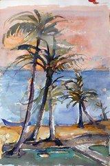 "#155 Palmiers - 14""x21"", Watercolour on paper"