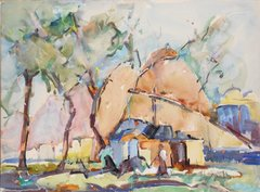 "#185 The Village Well, Syria - 19""x14"". Watercolour on paper"