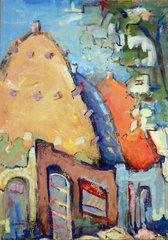 """#223 Village, Syria - 14""""x20"""", Gouache on paper"""