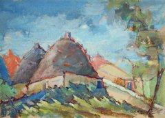 """#188 Village, Syria - 21""""x15"""", Gouache on paper"""