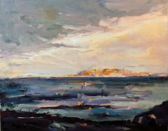 "#066 L'Île d'Arouad, Syrie - 28""x22"", Oil on stretched canvas"
