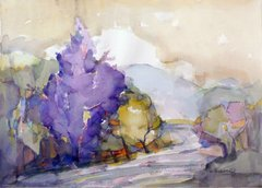 "#225 Purple North - 21""x15"", Watercolour on paper"
