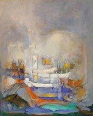 """#020 Boats Resting in Blue - 24""""x30"""", Oil on board"""