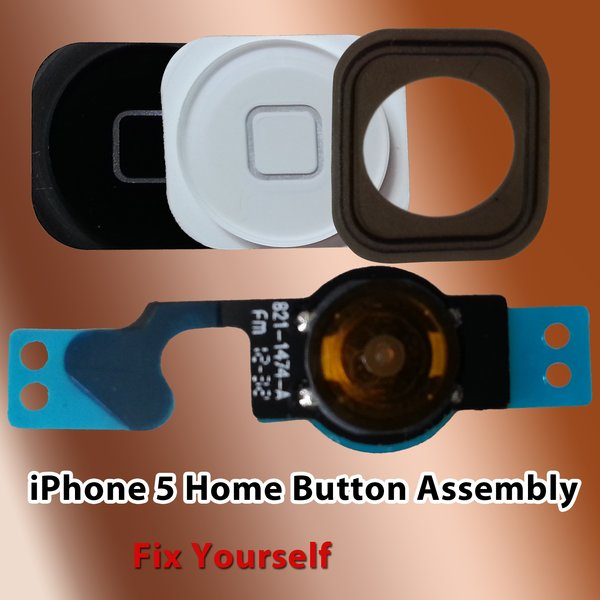 Apple iPhone 5 Home Button Assembly include Flex Cable & Rubber Sticker