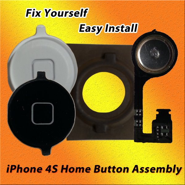 Apple iPhone 4S Home Button Assembly with Flex cable & Rubber Sticker