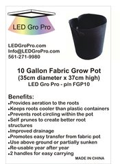 10 Gallon Fabric Grow Pot - Wholesale lot of 100 each
