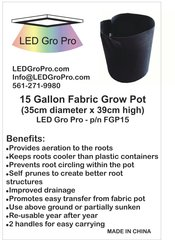 15 Gallon Fabric Grow Pot - Wholesale lot of 100 each