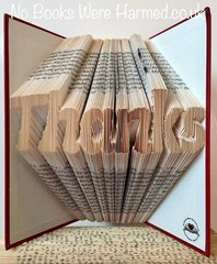 """""""Thanks"""" folded in to the pages of a book : : Style #3"""