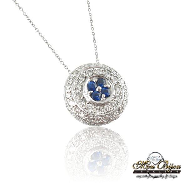 18 karat white gold sapphire and diamond circle pendant mon bijou 18 karat white gold sapphire and diamond circle pendant mozeypictures Gallery