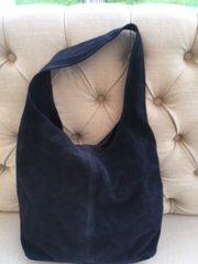 Navy Suede Slouch Handbag L99