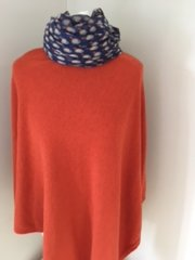 Cashmere Blend Poncho Burnt Orange