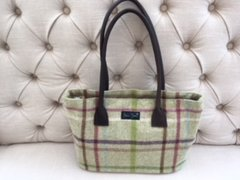 Blu Beri Large Tweed Bag - Lime Check W20