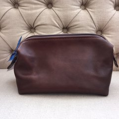 Blu Beri Leather Washbag - Tan