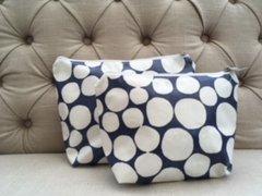 Blu Beri Oil Cloth Make-up Bag Navy Spot