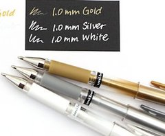 Uni-Ball Signo Gel Pen - White, Gold, Silver