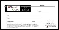 $50 Natural Accents Gift Certificate