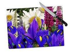 Iris Lupine Daisy Tempered Glass Cutting Board