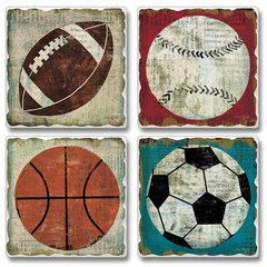Game Ball Absorbent Coaster Set