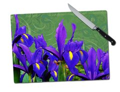 Iris Green Background Tempered Glass Cutting Board