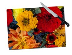 Dahlias Mums Tempered Glass Cutting Board