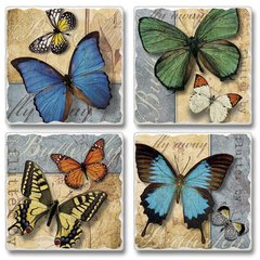 Flutter By Butterflies Absorbent Coaster Set