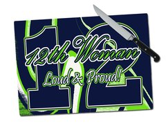 Seahawks 12th Woman Tempered Glass Cutting Board
