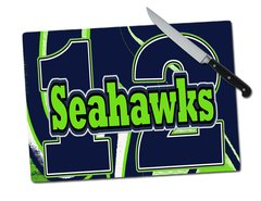 Seahawks 12 Tempered Glass Cutting Board