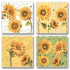 Under the Sun Sunflower Absorbent Coaster Set