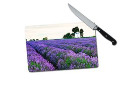 Lavender Field Small Tempered Glass Cutting Board