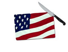 Flag Small Tempered Glass Cutting Board