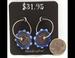 Blurple Wheel Glass Earrings by Heidi Klepper