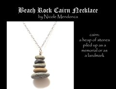 Beach Rock Cairn Necklace 3 by Nicole Mendonca