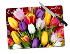 Tulip Words Tempered Glass Cutting Board