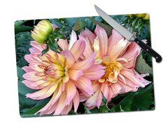 Dahlia Large Tempered Glass Cutting Board
